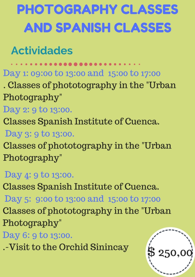 phototographyAND SPANISH CLASSESnt